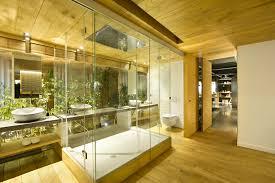 wooden bathroom design shower glass door wooden floor white washbowl white brick wall washbowl ceiling ceiling wall shower lighting