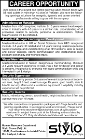 stylo shoes lahore jobs learning development stylo shoes lahore jobs 2013 learning development admin manager merchandiser security