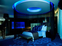 blue color bedroom neon