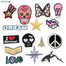 <b>ZOTOONE Iron on Patch</b> Skull Letter Stars Badge Patches for ...