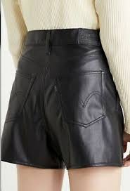 bnwt <b>LEVI'S FAUX LEATHER SHORTS</b> black tab levi logo rrp £60 ...