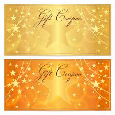 gift certificate voucher coupon template stars pattern gift certificate voucher coupon template stars pattern holiday gold and orange background