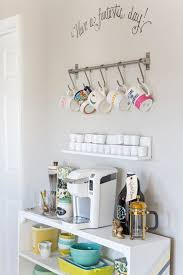 your bar cart is most likely going to be in your kitchen which means it can be an extra storage area for your colorful dishwares try matching your coffee unique diy coffee station