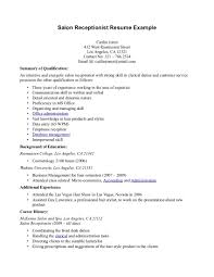 salon receptionist resume job and resume template salon receptionist resume example summary of qualification