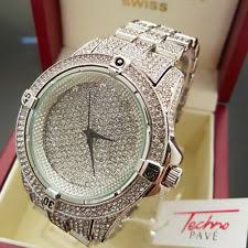 hip hop iced out rhodium plated metal band techno pave watches men hip hop white gold plated iced out techno pave bling rapper metal band watch