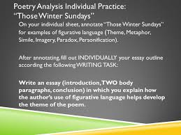 act ii figurative language metaphor extended metaphor simile  poetry analysis individual practice those winter sundays on your individual sheet annotate those winter