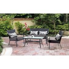 mainstays alexandra square 4 piece patio conversation set grey alexandria balcony set high quality patio furniture
