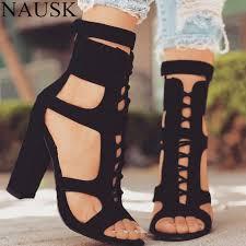 NAUSK <b>Flock Women Sandals</b> Gladiator High Heels Strap Pumps ...