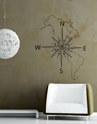 Nautical Map of North & South America w/ <b>Compass Vinyl Wall</b> ...