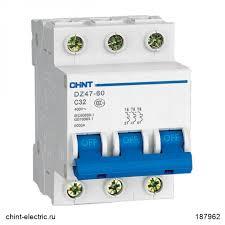 <b>Автоматический выключатель</b> DZ47-60 3Р <b>10А</b> 4.5кА х-ка C (CHINT)