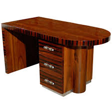 art deco office desk made of teak wood in brown finished with curved block top having art deco office contemporary