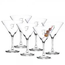 <b>Personalized</b> Crystal Martini Cocktail Glass <b>6pc</b>. Gift Set by ...