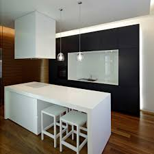 classic black and white modern apartment kitchen design with white painted solid wood kitchen table be equipped white finish wooden stool on solid oak wood black white modern kitchen tables