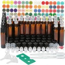 <b>24Pack 10ml</b> Essential oil <b>glass</b> bottles Amber <b>glass</b> roller bottle ...