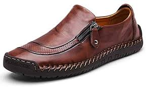 gracosy Slip-On Shoes, Men's Leather Hand Stitching ... - Amazon.com