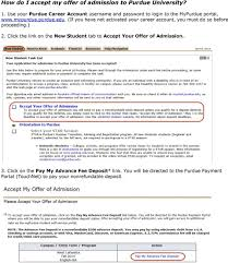 how do i accept my offer of admission to purdue university pdf if you have not activated your career account you must do so before proceeding