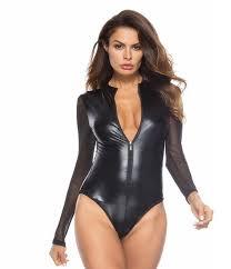 #0802 Black Mesh <b>Long</b> Sleeve Faux <b>Leather</b> Bodysuit <b>Zipper</b> ...