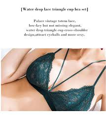 <b>Sexy</b> Green triangle cup lace lingerie palace <b>retro</b> ultra thin ribbon ...