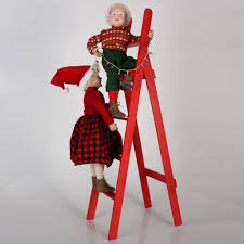 """Blonde Boy and Girl Figures on <b>Red Ladder Christmas</b> 36"""" Display ..."""