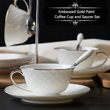 Embossed Gold Paint <b>Coffee Cup and Saucer</b> Set <b>Nordic</b> Style ...