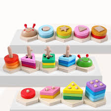 Geometric Building Blocks Cognitive Toys <b>Early Learning</b> ...