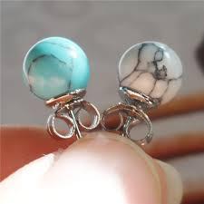Turquoise Gemstone <b>925 Sterling Silver Beautiful</b> Stud Earring   Wish