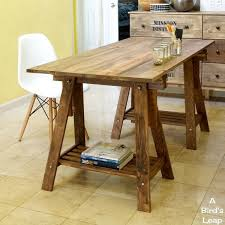 a birds leap diy rustic desk with stained ikea legs build rustic office desk