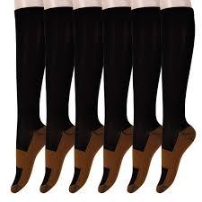 Graduated <b>Copper Compression Socks</b> 6 Pairs Anti Fatigue Knee ...