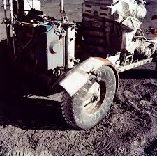 Apollo 17 moonbuggy fender repaired with duct tape