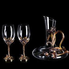 2019 Nordic Retro <b>Enamel</b> Irises <b>Lead Free</b> Crystal <b>Glass Red</b> Wine ...