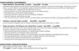 waitress curriculum vitae examples waiter cv example icover org english cv examples waiter resume examples