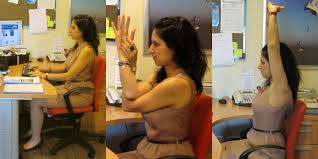 yoga yoga for the workplace here i demonstrate an ideal sitting posture my legs are at a 90 degree angle and my feet are firmly planted on the floor i m leaning all the way into