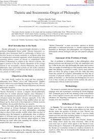 theistic and socionomic origin of philosophy