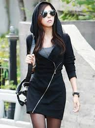 <b>Stylish Hooded Long</b> Sleeve Solid Color <b>Zippered</b> Bodycon ...