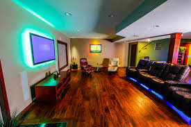 led accent lighting and recessed ceiling lights in basement traditional family room basement ceiling lighting
