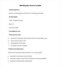 sample marketing intern resume template   free samples   examples    sample marketing intern resume template