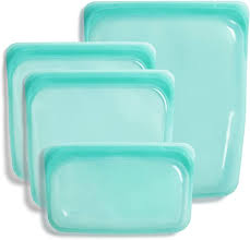 Stasher 100% <b>Silicone Food Grade</b> Reusable <b>Storage Bag</b>, Aqua (4