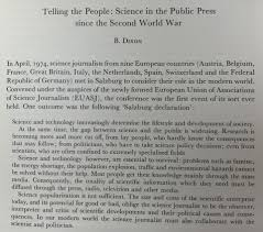 curiosity to scrutiny the early days of science journalism text of the salzburg declaration