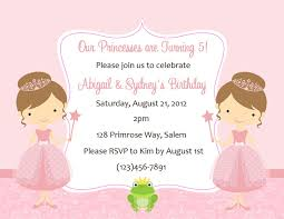 princess birthday invitations card invitation ideas card twin princess birthday invitations printable