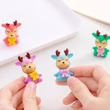 <b>4pcs</b>/<b>lot Cute Creative</b> Cartoon Christmas Small Color Deer Rubber ...