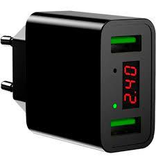 Сетевое <b>зарядное устройство</b> 2xUSB <b>Hoco C25A</b> - Черное