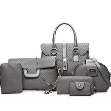 <b>6pcs Women Bag</b> Set <b>Leather Handbag</b> Totes <b>Designer</b> Shoulder ...