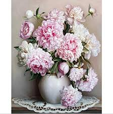 Oil Painting By Numbers,Diy Handpainted <b>Flowers Pictures Canvas</b> ...