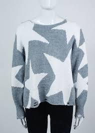<b>wildfox джемпер</b> серый с белыми звёздами, рваный низ 10 420