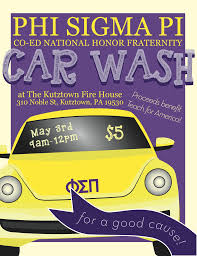 soap suds and fundraising phi sigma pi national honor fraternity car wash flyer used to advertise about the fundraising event made by amy rocha 2015