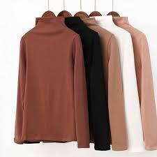 <b>Shintimes</b> Turtleneck Slim T Shirt Tops 2019 Autumn Winter Vogue ...