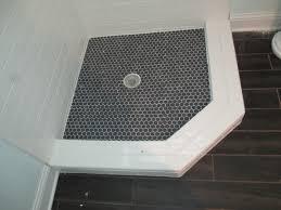 Hexagon Tile Floor Patterns Shower Floor Ideas Black Hexagon Tile With White Grout Shower