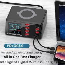 8 <b>Ports</b> USB <b>Charger</b> Quick <b>Charge</b> 3.0 Adapter <b>10W</b> Wireless ...