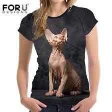 <b>FORUDESIGNS</b> Lovely Sphinx Cat Printed Summer <b>Women T Shirt</b> ...