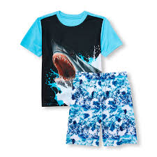 boys sleepwear the children s place off boys short sleeve shark graphic top and printed shorts pj set